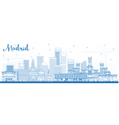 Outline madrid spain skyline with blue buildings vector