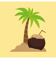 Palm tree cocktail coconut sand vector