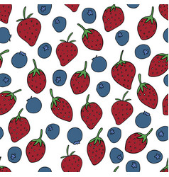 Pattern with strawberries and blueberries vector
