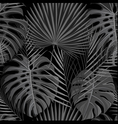 seamless pattern with grayscale tropical exotic vector image vector image
