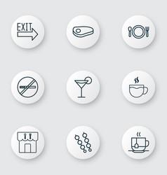 Set of 9 food icons includes steak tea vector