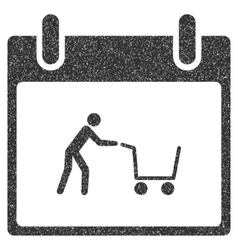Shopping cart calendar day grainy texture icon vector