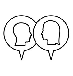 Silhouette relief dialogue between man and woman vector