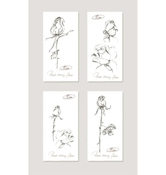 Sketch floral set Hand drawn of vector image vector image