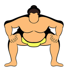 sumo wrestler icon cartoon vector image