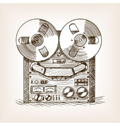 Tape recorder sketch style vector