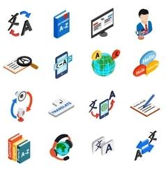 Translator icons set isometric 3d style vector image