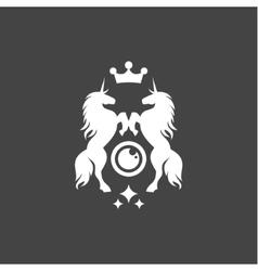 Two unicorns crown shine flat style vector