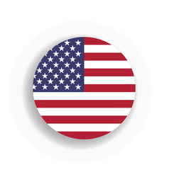usa flag int he circle with dropped shadow united vector image vector image