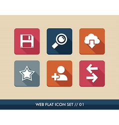 Web apps square flat icons set vector image vector image