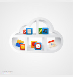 white cloud shelf with icons vector image vector image