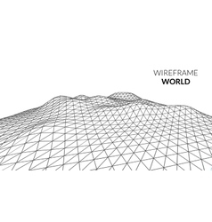 Wireframe landscape mountain background vector