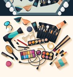 Workspace for makeup - flat design vector