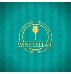 Wine cellar decorative turqiouse card vector image