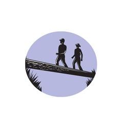 Hikers crossing single log bridge oval woodcut vector