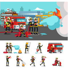 colorful firefighting composition vector image