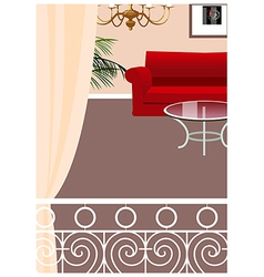 Elegant balcony lounge interior vector