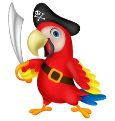 Cute parrot pirate cartoon vector