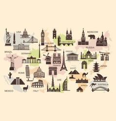 icons world tourist attractions vector image