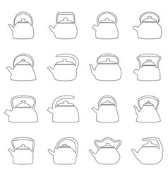 Set of outlines of kettles vector