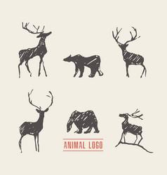Drawn deers bears logotype vector