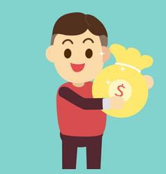 man get money bag man vector image