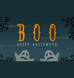 Halloween with ghost greeting card vector
