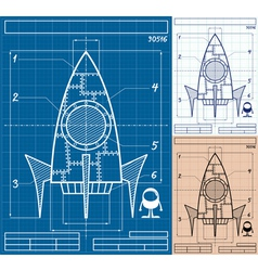 Rocket blueprint cartoon vector