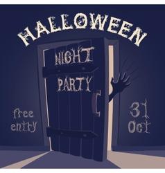 Open door on halloween night party vector