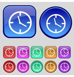Clock time sign icon mechanical watch symbol set vector