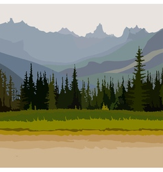 Landscape road coniferous forest mountains vector