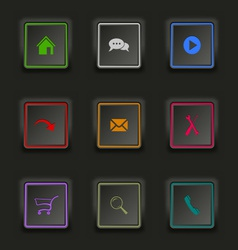 Flat color web buttons square on a dark background vector