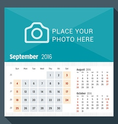 September 2016 desk calendar for 2016 year week vector