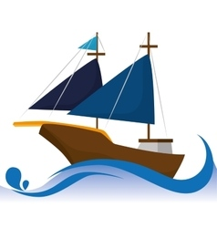 Antique sail boat vector