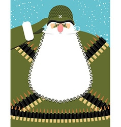 Military santa claus old soldier with beard and vector