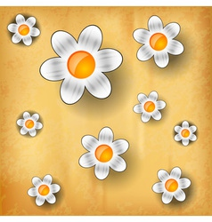 White flowers on the old paper vector