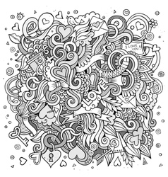 Cartoon hand-drawn love doodles sketchy vector