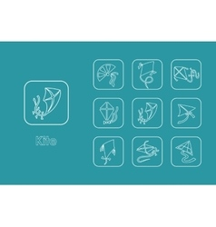 Set of kite simple icons vector