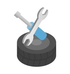 Repair wheels isometric 3d icon vector image