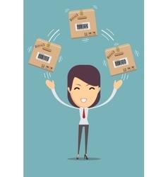 Delivery woman juggler a cardboard box vector image