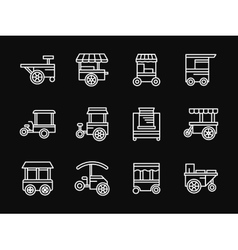 Street food white simple line design icons vector