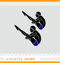 Athlete diving vector