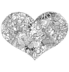 Music theme Hand drawn music heart Doodle heart vector image