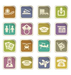 Airport icon set vector