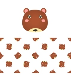 Bear Head Icon And Pattern vector image vector image