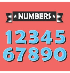 Blue cartoon numbers set on coral background vector image vector image