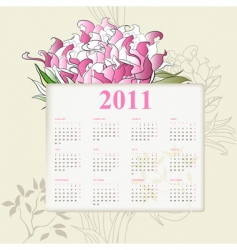 calendar for 2011 with flowers vector image vector image