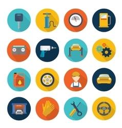 Car service flat icons set vector