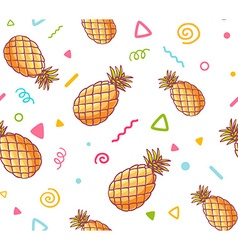 colorful pattern with pineapples on white vector image