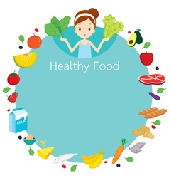 Cute girl and useful food object icons round frame vector image